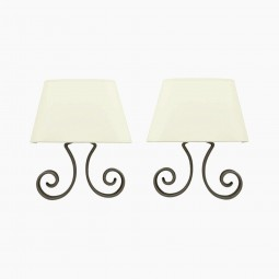 Polished Steel Scroll Form Sconces