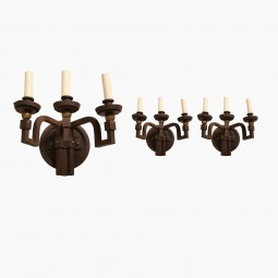 Iron Triple Light Sconces with Gilded Detail