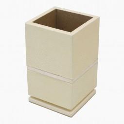 pen holder, shagreen, square, white