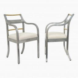 Pair of Italian Aluminum and Copper Chairs