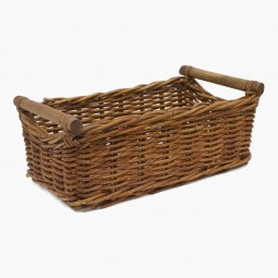 French Rectangular Basket with Wood Handles