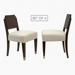 Set of Four Walnut Art Deco Dining Chairs