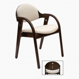Four French Wood Chairs with Curved Arms