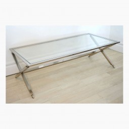 French Chrome and Glass X-Form Coffee Table