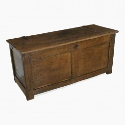 English 18th Century Oak Chest with Iron Strap Hinges