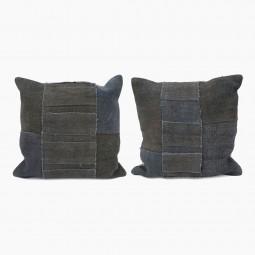 "Navy Antique Kilim Cushions - 19"" Square"
