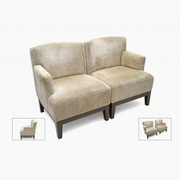 Pair of Single Arm Wood and Upholstered Chairs