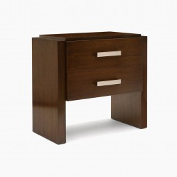Pair of Walnut Two Drawer Night Tables