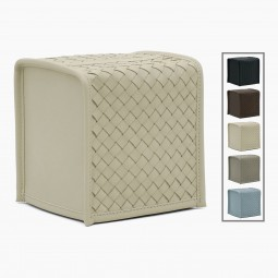 Woven Ivory Leather Tissue Box Cover