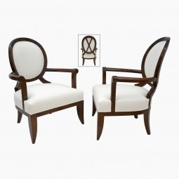 Pair of Oversized Oval Back Beech Arm Chairs