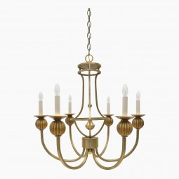 Gilt Metal and Wood Chandelier