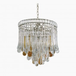 Circular Tear Drop Crystal Murano Glass Chandelier