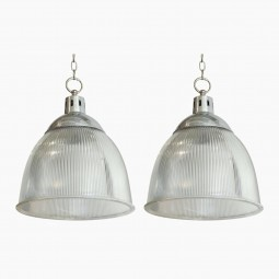Pair of Halophane and Aluminum Pendant Fixtures
