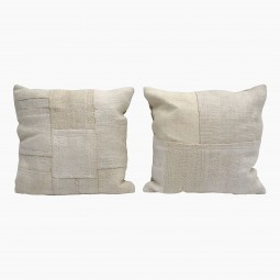Ivory/White Square Cotton Cushion