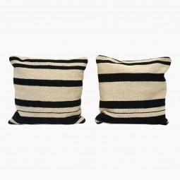 Square Cushion from Antique Cotton Kilim