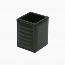 Italian Black Leather Pen Cup
