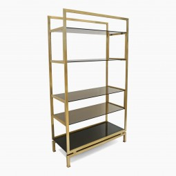 Brass and Glass Etagere by Guy Le Fevre