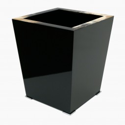 Black Lacquer and Horn Waste Paper Basket