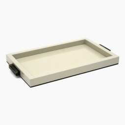 Cream Lacquer Tray with Horn and Steel Handles
