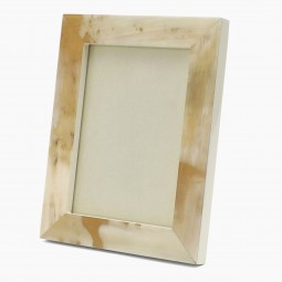 Cream Lacquer and Horn Picture Frame