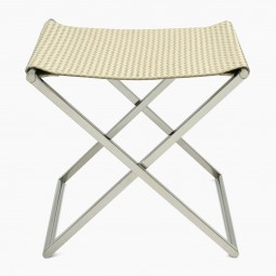 Chrome and Woven Leather Folding Luggage Rack or Seat