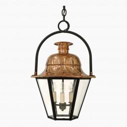 Hexagonal Copper Lantern with Iron Ring Top