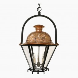 Hexagonal Copper Lantern with Iron Ring Hanger