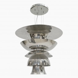 Large Polished Aluminum Pendant Light Fixture