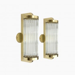 Brass and Glass Rod Italian Wall Sconces