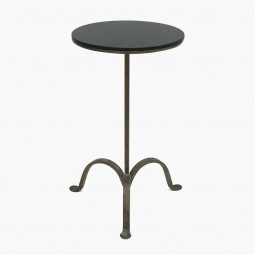 Iron Tripod Drinks Table with Stone Top