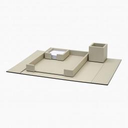 Set of Italian Cream Woven Leather Desk Accessories