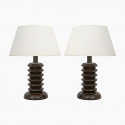Pair of French Walnut Twist Wood Lamps