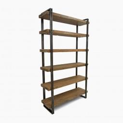 Steel and Wood Six Shelf Bookcase