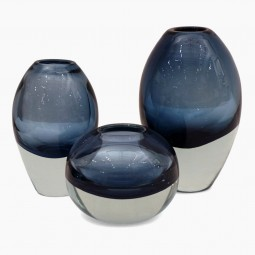 Set of 3 Molded Blue Glass Vases