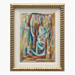Abstract Cray Pas and Watercolor Drawing by Walter Firpo
