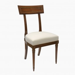 French Mahogany Side Chair with Brass Trim