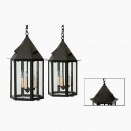 Pair of Hexagonal Patinated Lanterns