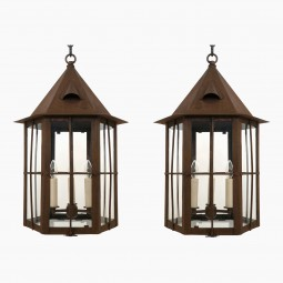 Pair of Hexagonal Patinated Lanterns