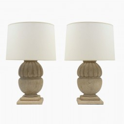 Pair of Bleached Wood Lamps with Gadrooned Details