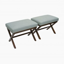 Pair of Walnut X-Form Benches