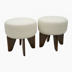 Pair of Circular Poufs with Angular Walnut Legs
