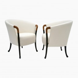 Pair of Curved Back Armchair with Beech Wood Legs
