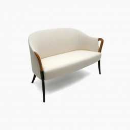 Curved Back Settee with Beech Wood Legs