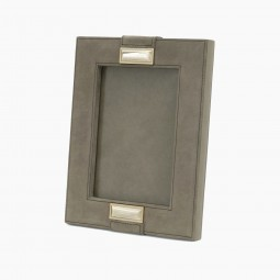 Italian Gray Suede and Horn Picture Frame