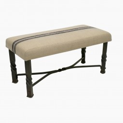 French Iron Bench with Belgian Linen Seat