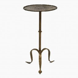 Iron Table with Hammered Top