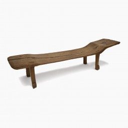 Rustic Sculptural Carved Wood Bench