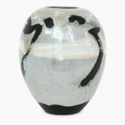 Abstract Ceramic Vase in Light Blue, Black and White