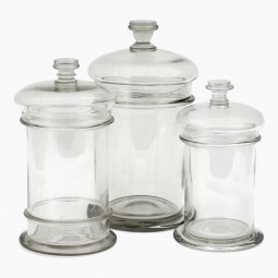 Set of Three Glass Hand Blown Cuisine Jars