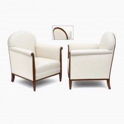 Pair of French Upholstered Chairs with Walnut Legs